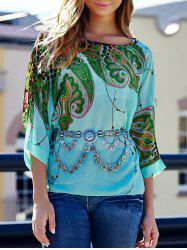 Stylish Scoop Neck Batwing Sleeve Printed Loose-Fitting Chiffon Blouse For Women - COLORMIX