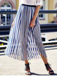 High Waist Vertical Striped Maxi Skirt - CADETBLUE