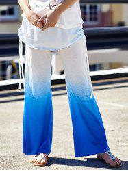 Ombre Color Wide Leg Yoga Pants - BLUE AND WHITE