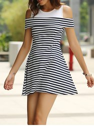 Casual Off-The-Shoulder Round Neck Striped Women's Dress -