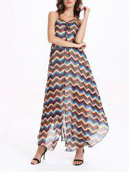 Spaghetti Strap Chiffon Split Chevron Maxi Dress