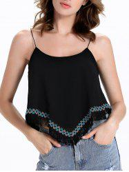 Stylish Spaghetti Strap Fringed Design Women's Tank Top