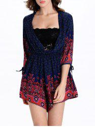 Stylish Tribal Print 3/4 Sleeve Plunging Neck Women's Romper
