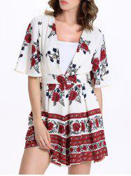 Short Sleeve Plunging Neck Floral Short Romper
