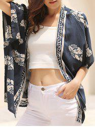 Fashionable Floral Print 3/4 Sleeve Kimono Cardigan For Women - BLUE