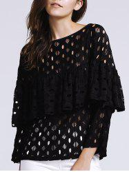 Women's Chic Hollow Out Laced Jewel Neck Blouse -
