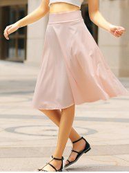 High Waisted A Line Midi Skirt - PINK