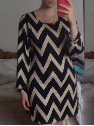 Color Block Zigzag Printed Dress For Women