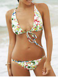 Alluring Halter Tropical Print Women's Bikini Set