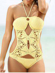 Halter Crochet Hollow Out Knitting Swimwear