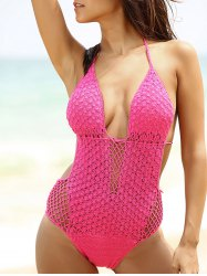 Attractive Halter Hollow Out Crochet Women's Swimwear - ROSE S