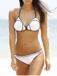 Fashionable Halter Hit Color Crochet Women's Bikini Set