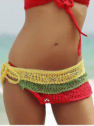 Color Block Layered Crochet Skirted Bathing Suit Bottom - COLORFUL L