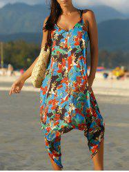 Spaghetti Strap Pocket Design Floral Jumpsuit