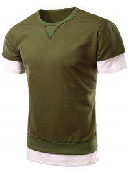 Personality Round Neck Short Sleeve Fake Twinset T-Shirt For Men