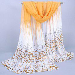 Chic Scrawl Stripe and Leopard Pattern Ombre Chiffon Scarf For Women