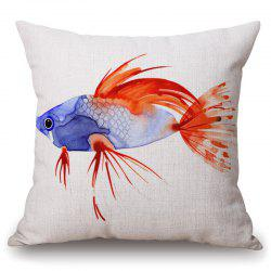 Fashionable Watercolor Fish Pattern Square Shape Pillowcase (Without Pillow Inner) -