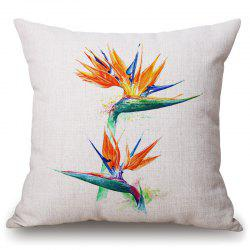 Fashionable Tropical Plants Pattern Square Shape Flax Pillowcase (Without Pillow Inner) -