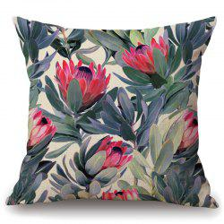 Fashionable Tropical Plants Pattern Flax Pillowcase (Without Pillow Inner) -