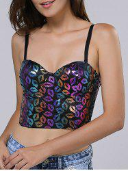 Spaghetti Strap Lip Print Crop Top -