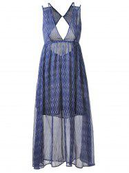 Plunging Neck Empire Waist Midi Boho Dress - Bleu Et Blanc