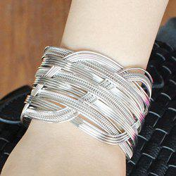 Crossed Hollowed Cuff Bracelet - SILVER
