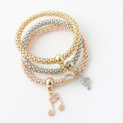 Chic Multilayer Rhinestone Musical Notation Charm Bracelet For Women