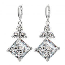 Pair of Square Faux Zircon Rhinestone Earrings