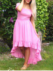 Noble Solid Color Off-The-Shoulder Ruffled Hem Prom Dress For Women -