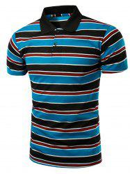 Stylish Men's Turn-Down Collar Striped Print Short Sleeve Polo T-Shirt - BLUE AND BLACK