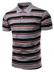Stylish Men's Turn-Down Collar Striped Print Short Sleeve Polo T-Shirt