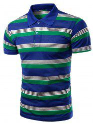 Trendy Men's Striped Turn-Down Collar Short Sleeve Polo T-Shirt