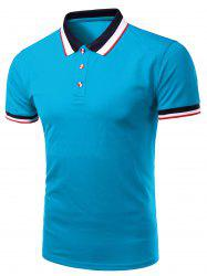Stylish Men's Turn-Down Collar Color Block Short Sleeve Polo T-Shirt
