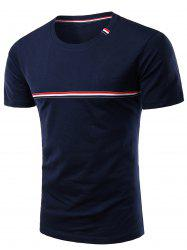 Trendy Men's Round Neck Striped Printed Short Sleeve T-Shirt -