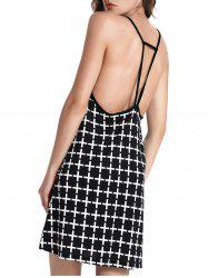 Open Back Printed Slip Summer Dress - BLACK XL
