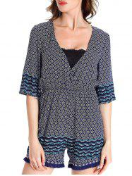 Casual 3/4 Sleeve Plunging Neck Tribal Print Women's Romper -