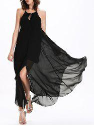 Flowy Backless Chiffon Maxi Robe de cocktail - Noir