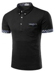 Turn-Down Collar Flower Print Edging Short Sleeve Button-Down Polo T-Shirt For Men -