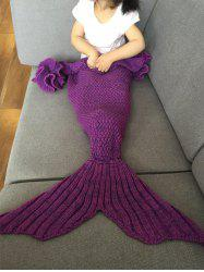 Falbala Shape Mermaid Tail Design Knitted Baby Blankets - VIOLET