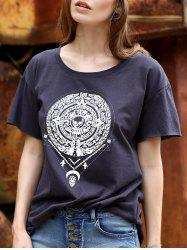 Stylish Round Neck Short Sleeve Fitting Totem Print Women's T-Shirt