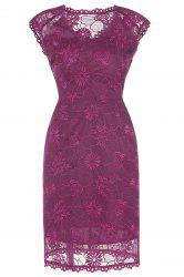 Embroidered Cap Sleeve Bodycon Dress For Women -