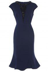 Beaded Cap Sleeves Fishtail Dress For Women - PURPLISH BLUE