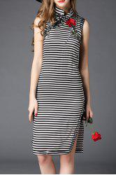 Mandarin Collar Striped Rose Embroidery Dress -