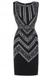 Embroidered Sleeveless Bodycon Dress For Women -