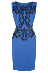 Embroidered Sleeveless Pencil Dress For Women -