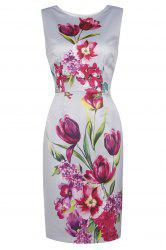 Sheath Floral Sleeveless Dress -