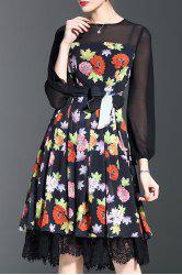 Lace Trim Flower Print Midi Dress -