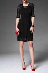 Solid Color Pleated Lace Sleeve Dress -