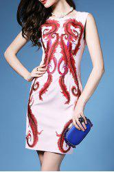Ethnic Embroidery Straight Dress -
