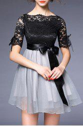 Wedding Bowknot Embellished Lace Spliced Dress - BLACK AND GREY